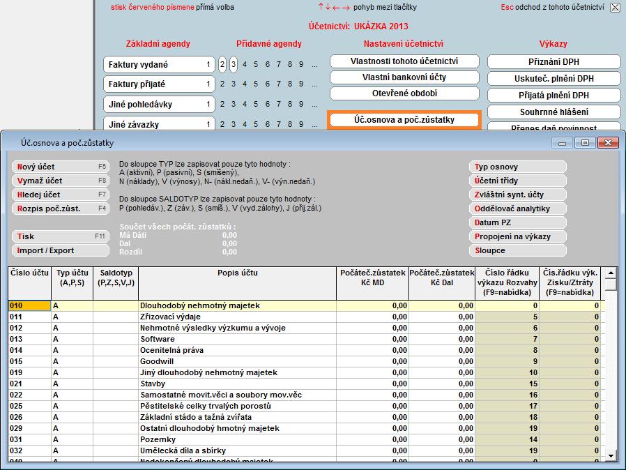 Účtová osnova - Účetní software Profesionál