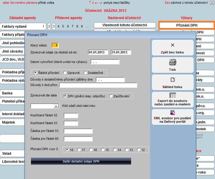 Přiznání DPH - Účetní software Profesionál